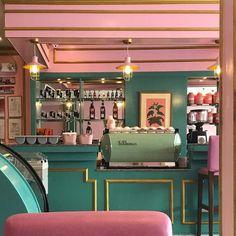restaurant deko Pink green and gold cafe - Design Retro, Bar Design, House Design, Deco Restaurant, Restaurant Design, Boutique Interior, Café Retro, Retro Cafe, Wes Anderson Color Palette
