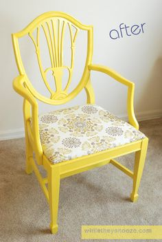Side Chair Makeover - tutorial for fixing, painting, and reupholstering a chair