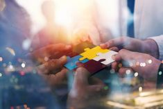 Business people join puzzle pieces in office. Concept of teamwork and partnership. double exposure with light effects - Buy this stock photo and explore similar images at Adobe Stock Employee Wellness Programs, Teamwork Activities, Customer Experience, Experiential, Puzzle Pieces, Double Exposure, Collaboration, Behavior, Concept