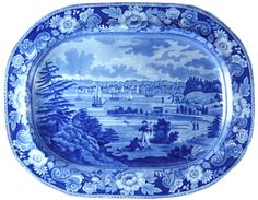 """New York From Heights Near Brooklyn"" - Andrew Stevenson  This 16.5 inch platter illustrates the reason for the interest in patterns that portray early America.  The beautifully printed pattern opens a window onto a view of New York City nearly two hundred years ago.  Made by Andrew Stevenson (1810-1836), the pattern is one of a series."