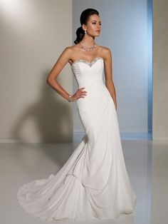 Style Y11225, Elena is a beautiful chiffon wedding gown with corset back designed by Sophia Tolli, click here for more details on this style.