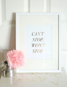 Can't Stop Won't Stop Gold Foil Fashion Art Print: Home Decor, Sunglasses, Motivate,Pretty Things, Girl Decor, Office Decor, Gold Foil Print...