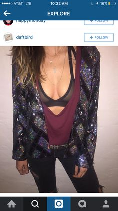 fbf41a2814a6da Black bralette with plunging plum top and beaded jacket