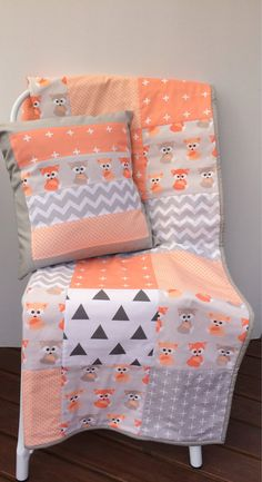 Peach Baby Foxes Patchwork Cot / Crib Quilt With Cushion Cover & Bunting Flags…