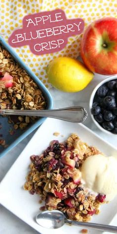 This Apple Blueberry Crisp is made with just a few ingredients of fresh fruit, honey and oats! Best Apple Recipes, Best Dessert Recipes, Breakfast Recipes, Hot Desserts, Desserts For A Crowd, Summer Desserts, Grilling Recipes, Cooking Recipes, Baked Cinnamon Apples