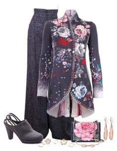 A fashion look from January 2017 featuring high-waist trousers, slingback shoes and dolce gabbana handbags. Browse and shop related looks. Kinds Of Clothes, Clothes For Women, Merino Wool Sweater, Line Jackets, Costume, Sweater Jacket, Coats For Women, Knitwear, Blazers