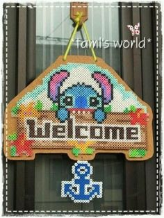 Welcome Stitch sign perler beads Perler Bead Templates, Diy Perler Beads, Pearler Bead Patterns, Perler Bead Art, Perler Patterns, Lilo Und Stitch, Perler Bead Disney, Art Perle, Motifs Perler