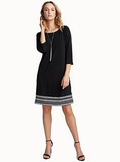 Exclusively from Contemporaine     An ultra comfortable and pretty dress with a fashionable straight design, perfect for the spring   Silky, stretch jersey with a fluid drape    The model is wearing size small    Length: 89cm, from the top of the shoulder