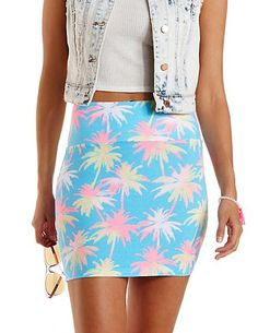 Palm Tree Print Bodycon Mini Skirt: Charlotte Russe #skirt #miniskirt