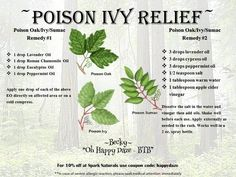 "Essential Oil Poison Ivy Relief   For 10% off at Spark Naturals use coupon code ""happydaze"":"