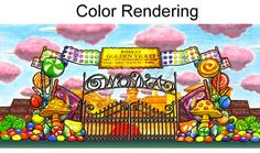 Willy Wonka backdrop | Music Theatre International Music Theater, Theatre, Willy Wonka, Chocolate Factory, Alice In Wonderland, Backdrops, Musicals, Scenery, Scrapbook