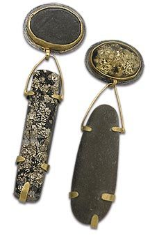 Carolyn Bensinger's  Earrings.......Connie Fox: Contrast of color, texture, shape and materials.