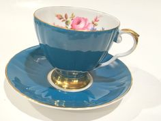 Royal Grafton Tea Cup and Saucer, Teal Tea Cups, Tea Set, English Bone China Cups, Antique Teacups, Vintage Tea Cups, Hand Painted Cups by AprilsLuxuries on Etsy