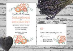 Rustic peachy Vintage Style Wedding Invitation by ASplashOfHearts