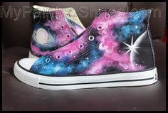 Galaxy High Top Converse Shoes Custom Converse Painted Shoes Source by custom High Top Converse, Cheap Converse Shoes, Cute Converse, Converse Style, Outfits With Converse, Converse Chuck, Nike Shoes, Painted Converse, Painted Sneakers