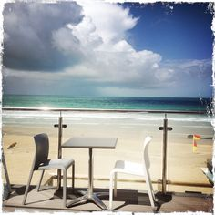 Lunch at Porthmeor cafe St Ives Cornwall.