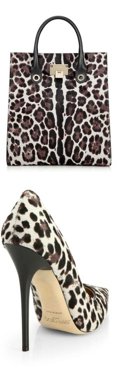 Jimmy Choo ~ Anouk Leopard-Print Calf Hair Pumps and Rita Quartz Leopard-Print Tony Tote