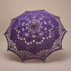 Umbrella Purple Parasol Wedding Umbrella Lace Purple by ALICEPUB