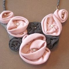 Recycled T Shirt Flower Bib Necklace - Pink and...