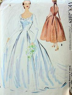 1950s BEAUTIFUL WEDDING DRESS BRIDAL or GALA EVENING GOWN PATTERN McCALLS 9703 SHAPED NECKLINE FITTED BODICE JUST STUNNING Bust 30