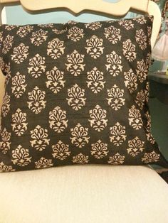"Black block printed cushion cover (16""x16"") in semi raw silk"