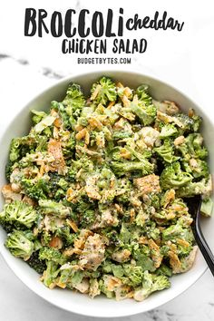 May 2020 - This chunky chopped Broccoli Cheddar Chicken Salad is a great fresh salad that can be eaten on its own or turned into several different easy lunch ideas! Broccoli Cheddar Chicken, Pre Cooked Chicken, Easy Salads, Healthy Salads, Healthy Recipes, Easy Recipes, Keto Recipes, Chicken Salad Recipes, Chicken Salads
