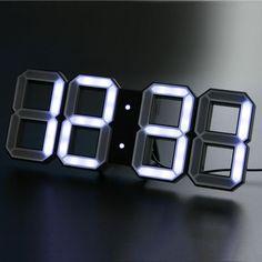 White & White Digital LED Clock (Black) Kibardin Design | Design Is This