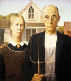 American Gothic (in case you forgot what the original painting looks like)  -  'American Gothic' It's one of the few paintings in the history of art that is instantly recognizable — a father and daughter standing together in front of a white Iowa farmhouse.