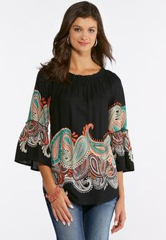 89190a2cedf Cato Fashions Plus Size Paisley Bell Sleeve Top  CatoFashions Cato Fashion Plus  Size