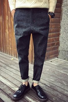 Fashion Zip Fly Solid Color Narrow Feet Harem Pants For Men