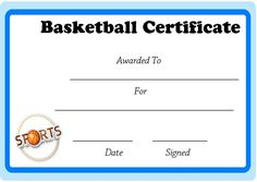 Basketball Certificate Of Participation Template  Awards
