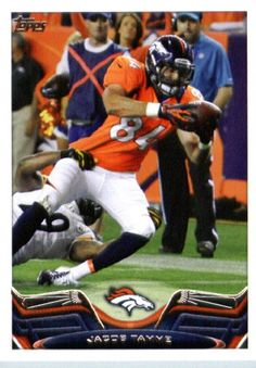 2013 Topps Football Card #6 Jacob Tamme - Denver Broncos - NFL Trading Cards - http://nfledge.net/2013-topps-football-card-6-jacob-tamme-denver-broncos-nfl-trading-cards/ - 2013 Topps Football Card #6 Jacob Tamme – Denver Broncos – NFL Trading Cards Product Features  1 (One) Single 2013 Topps Football Card Card is NM-MT Condition or Better Card Ships in Top Load and / or Soft Sleeve Look for thousands of other great sportscards of your favorite player or team NOTE