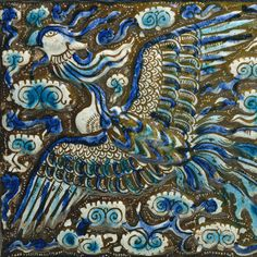 Tile with an image of a phoenix, Ilkhanid period (1206–1353) late 13th century  Iran, probably Takht-i Sulaiman  Stonepaste; modeled, underglaze painted in blue and turquoise, luster painted on opaque white ground  H. 14 3/4 in. (37.5 cm), W. 14 1/4 in. (36.2 cm)