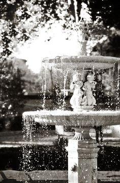 Interior decor black and white photograph of a fountain in Madrid, Spain Ritiro Park.