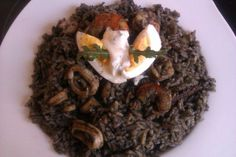 Arroz Negro Con Marisco #Arroz con pulpo y calamares (one of my favorite Spanish-Puertorrican dish)