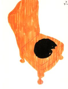 orange chair, black cat
