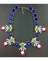 Luxurious Blue Crystal Vintage Gem Flower Alloy Necklace Wholesale Jewelry
