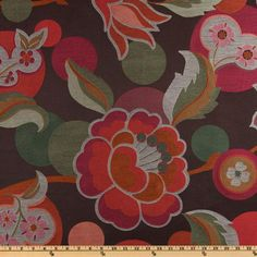 Richloom Esme Eyecandy $12 very heavy weight jacquard - the blooms measure about 10'' wide. Colours include rust, pink, hot pink, sage and ivory on a chocolate background.