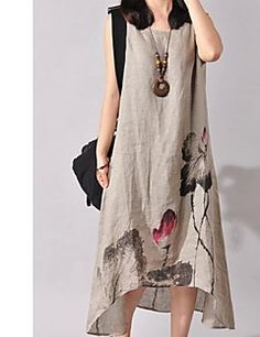 Women's Going out Beach Holiday Chinoiserie Loose Dress,Print Round Neck Asymmetrical Sleeveless Cotton Linen Spring Summer Mid Rise – USD $ 9.99