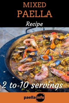 The combination of meat, fish, and seafood makes this Mixed Paella recipe a very popular paella recipe. This tasty, rich and beautiful paella will satisfy all tastes. In contrast to the authentic Paella Valenciana made with meat, and the characteristic and stunning Seafood Paella, this Mixed Paella is made with meat, fish, and seafood. This combination of ingredients gives this beautiful paella a very rich taste. #paella #paellarecipe #mixedpaella #paellamixta #recipes #recipe… Paella Recipe For 2, Mixed Paella Recipe, Paella Pan, Seafood Paella, Valenciana Recipe, Vegetarian Paella, Chicken Paella, Seafood Stock