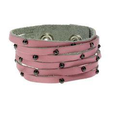 "1"""" Wide Plain Pink Genuine Leather Cuff Bracelet Wristband w/ Slits & Studs"