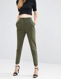 Image 4 of ASOS Tailored High Waisted Pants with Turn Up Detail
