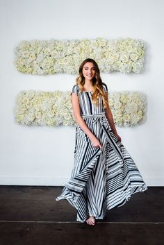 Zebra Maxi Dress Navy & White
