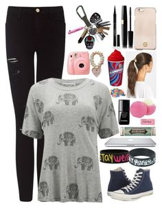 """""""Untitled #2245"""" by bloodyvampire-188 ❤ liked on Polyvore featuring Frame Denim, Wildfox, Tory Burch, Tasha, Elizabeth Arden, Eos, Converse, le top, Miss Bibi and Paper Mate"""