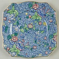 "Antique Copeland Spode Red Transfer Flowers Pattern Dinner Plates 10/"" c1925-1926"