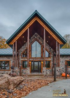 Log Home By Golden Eagle Log Homes - Entry Exterior View 2