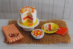 Miniature Candy Corn Cake For Halloween A by LittleThingsByAnna, $26.99
