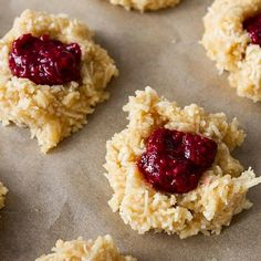 Coconut Macaroon Thumbprints With Raspberry Chia Seed Jam