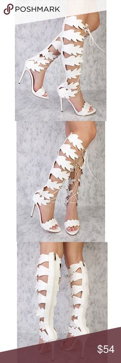 White Leaf Cut Out Gladiator BOOTS!  Brand new, in a box . Great for upcoming Spring & Summer!! ☀️ Absolutely one of a kind and a must have for my fierce fashionistas:) Heel measures approximately 4.75 inches. Shoe measures approximately 21.25 inches top to bottom. *Also available in Tan- size 8.5 and Black- size 7!! Athena Shoes Heeled Boots