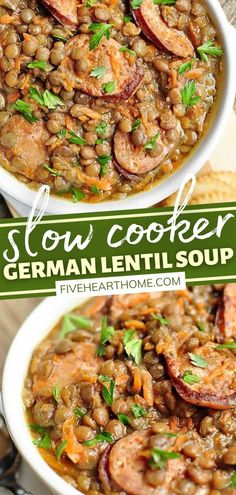Slow Cooker German Lentil Soup with Sausage is an all-time favorite! Brimming with lentils, sausage, and carrots in a flavorful broth, it is hearty, comforting, filling, and nutritious. While this dinner is perfect for the winter, your family will request it year-round! Delicious Crockpot Recipes, Healthy Chicken Recipes, Slow Cooker Recipes, Real Food Recipes, Soup Recipes, Crockpot Meals, Freezer Meals, Delicious Food, Yummy Recipes